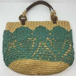 Fossil Soft Teal Tan Faux Straw Shopper Tote Bag